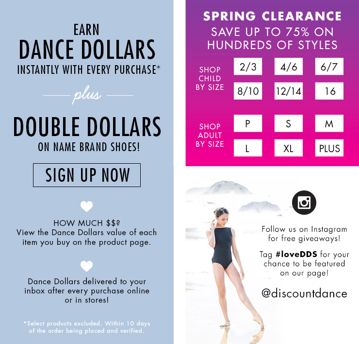 ads for the DDS reward program, clearance items per size, and tights and undergarments
